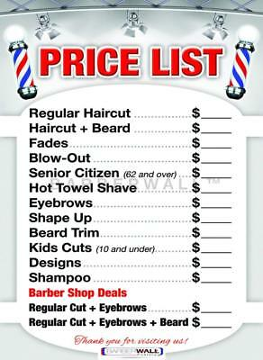 Barber Shop Price List for Beauty Salon Laminated Sign 24 x 36 Poster Decor