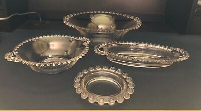 Vintage Lot of 4 Pieces Imperial Glass Candlewick: Salad/Celery/Ash/Handled Bowl