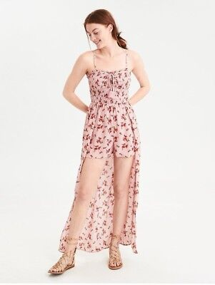 3863662ea9bf American Eagle AEO Smocked Maxi Romper Hi Lo Pink Floral With Straps Sz M  NWT