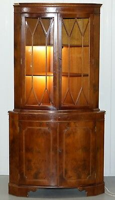 Vintage Burr Yew Wood Corner Cupboard With Two Lights Astral Glazed Detailing