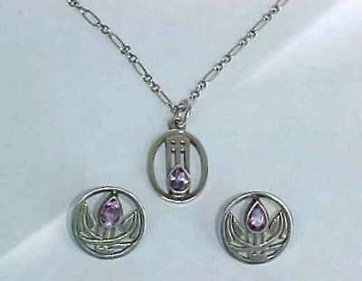 Charles Rennie Mackintosh Silver Amethyst  Earrings & Necklace