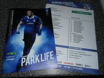 OLDHAM ATHLETIC  v  DERBY COUNTY 2018/19 CARABAO CUP ~ AUG 14 +  RARE TEAM SHEET