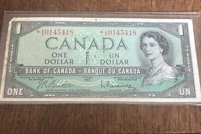 Bank Of Canada 1954 $1 One Dollar Bill Replacement Note Circulated * A/A C125