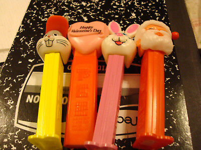 4 Pez Heads Bugs Bunny , Santa Claus, Valentine's Day & Easter Bunny