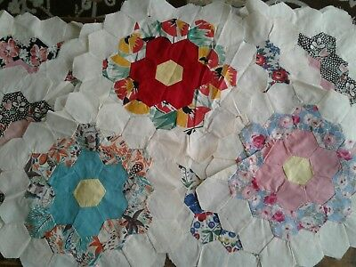 12 Vintage Antique Large Dresden Plate Flower Quilt Blocks Handpieced 194O's