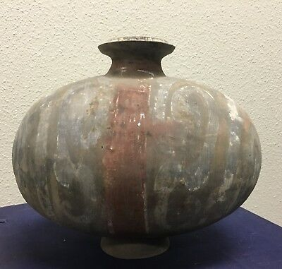 Certified Han Dynasty, Antique Chinese Painted Pottery Egg-Shaped Water Pot