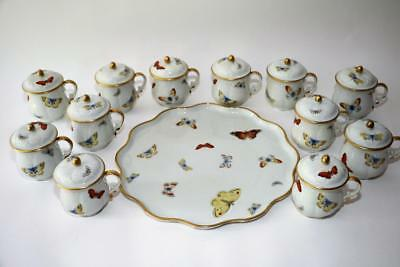 Limoges Castel Butterfly Pots De Creme Set With Tray