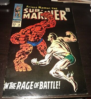 Sub-Mariner #8 FN+ Classic Thing Battle Marvel Silver Age KEY Comic Fantastic 4