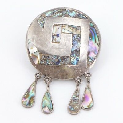 VTG Sterling Silver - MEXICO Abalone Inlay Dangle Brooch Pin - 15g