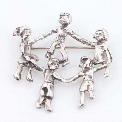 VTG Sterling Silver - MEXICO Children in Circle Holding Hands Brooch Pin - 8g
