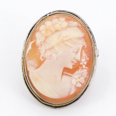VTG 800 Silver - Victorian Carved Shell Cameo Pendant Brooch Pin - 5g
