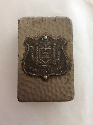 Pewter Us Naval Academy Match Box Holder ANNAPOLIS. MD.