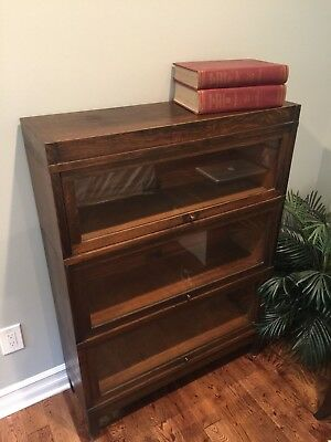 Antique Oak Barrister Lawyers Cabinet Globe Wernicke Sectional Stacking Bookcase