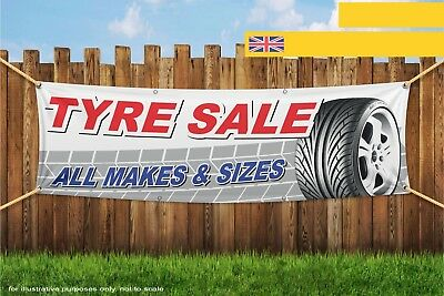 Tyre Sale All Makes and Sizes Fast Heavy Duty PVC Banner Sign 3729