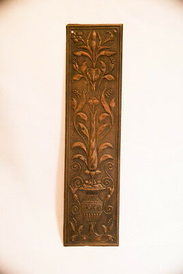 1800S Victorian Flowers & Vase Design Copper Wall Door Plate