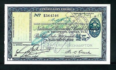 England Travellers Cheque National Provincial Bank 5 Pounds 1957 XF