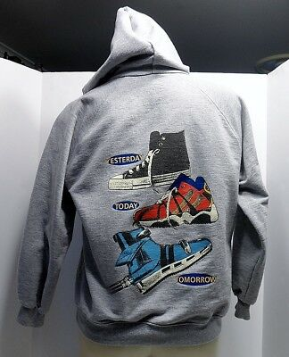 Vintage 80s 90s Hank Player Full Zip Hoodie Boys 10/12 High Top Shoe History