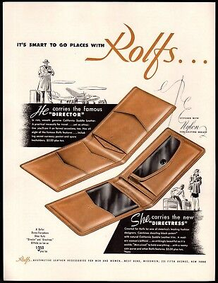 Original  1946 Print Ad Rolfs Director Directress California  Leather Wallet