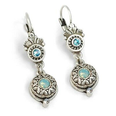 New Sweet Romance Victorian Style Rosette Leverback Earrings Pacific Blue
