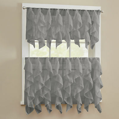 SHEER VOILE VERTICAL Ruffle Window Kitchen Curtain Tiers or ...