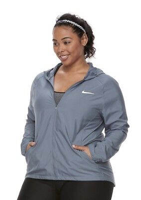 NWT Women's Plus Size Nike Essential Hooded Running Jacket - Gray 3X