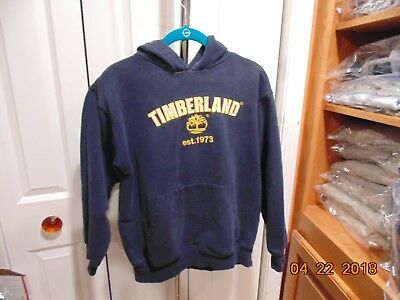 Timberland NAVY BLUE Hoodie EMBROIDERED Sweatshirt YOUTH SIZE LARGE