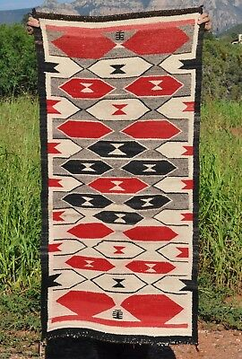 "Great Old Ganado Navajo Indian Rug - Red, Black, White, Grey - 58"" by 28"""