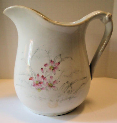 Antique Pioneer Pottery Co Imperial China Pitcher w/Pink Floral Pattern