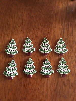 "8 Christmas Tree Ceramic Buttons, 1"" NEW, Free Shipping"