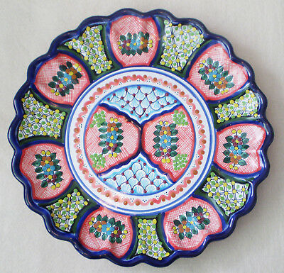 "Vintage 13.5"" Hand Painted Floral Puebla MEXICAN TALAVERA PLATTER Plate"