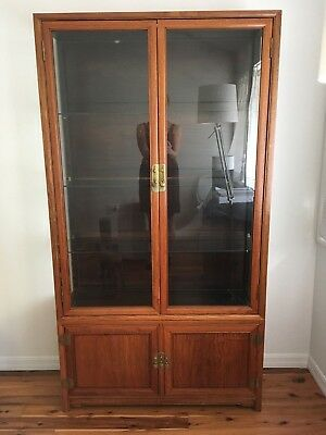 "Vintage Chinese Asian rosewood display cabinet 40"" x 14"" x 74"" two pieces"