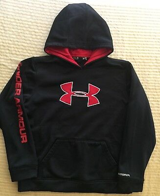 Unisex Under Armour Storm Hoodie Black Red Logo Ylg Large Poly