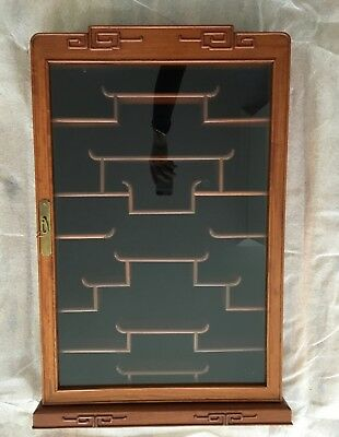 "Vintage handmade Chinese Asian rosewood display wall cabinet lock/key 19""x29"""