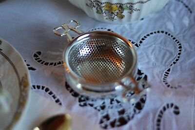 Tea Strainer, Silver Plated w/ Drip Bowl, Antique Reproduction, Notting Hill