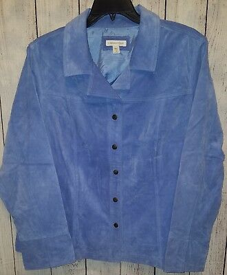 Womens Coldwater Creek Blue Suede Snap Front Jacket Size 3X