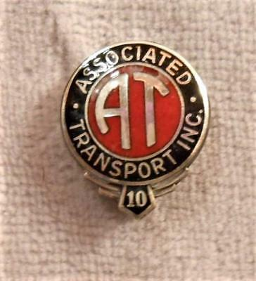 Vintage Sterling & Enamel 10 Year Truck Service Pin - Associated Transport Inc