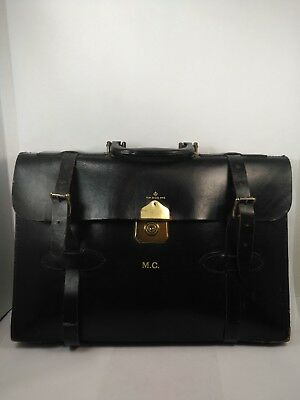 Expanding Cheney England Leather Brown Doctors Lawyers Attache Bag Briefcase vtg