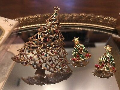 Vintage Gold Red And Green Christmas Trees