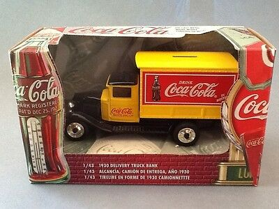 Coca Cola Coke 1930 Yellow Delivery Truck Bank Die Cast Metal 1:43 Scale