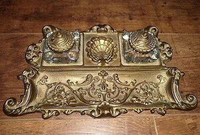 Vintage Ornate Heavy Cast Brass Double Inkwell