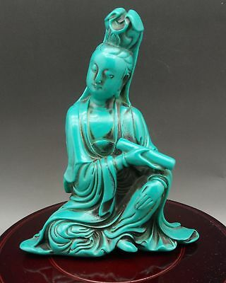 Chinese Hand-carved Exquisite Natural Turquoise Guanyin Statue    Q915