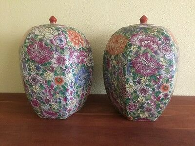 """Chinese Floral Hexagon Ovoid Large Temple Jar Urn Pair 14"""" Tall 20th Century"""