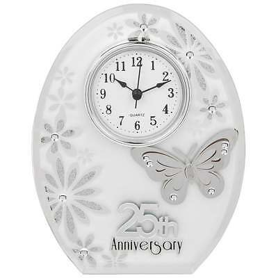 Shudehill Giftware Butterfly 25th Anniversary Clock - New - 55110