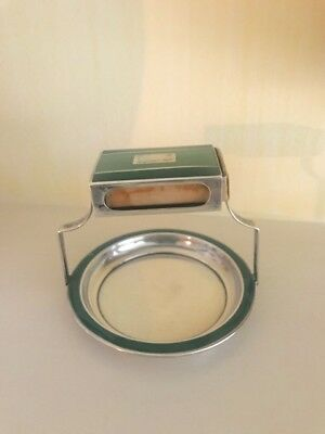 Deco Sterling Silver and Green Enamel Table Match Box Stand and Ashtray