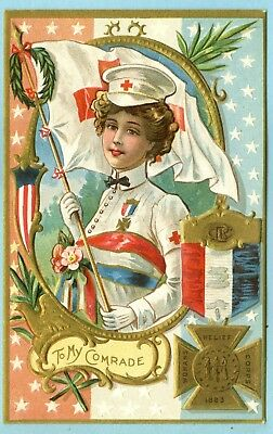 """Embossed, WOMANS RELIEF CORPS 1883, """"To My Comrade. Lady in Red Cross Dress..."""