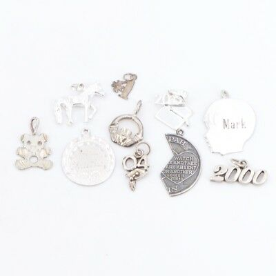 VTG Sterling Silver - Lot of 10 Assorted Charm Pendants NOT SCRAP - 16g