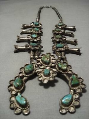 1900's Vintage Navajo Green Turquoise Sterling Silver Squash Blossom Necklace