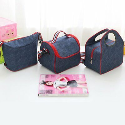 Denim Insulated Lunch Bag Bento Box Pack Picnic Drink Food Thermal Ice Cooler CU
