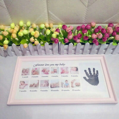 Baby My First Year Photo Frame Newborn 12 Months Picture Standing White Frame H1