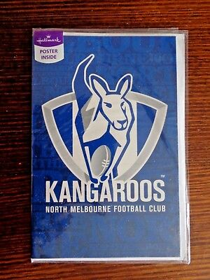 OFFICIAL AFL-Kangaroos gift/birthday/father's day Card with poster.New.